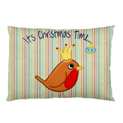 Bird Christmas Card Blue Modern Pillow Case (two Sides)