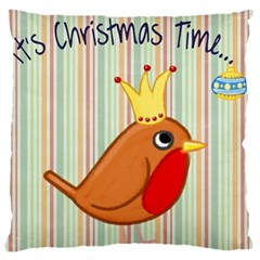 Bird Christmas Card Blue Modern Large Cushion Case (two Sides) by Celenk