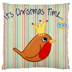 Bird Christmas Card Blue Modern Large Flano Cushion Case (one Side) by Celenk