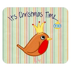 Bird Christmas Card Blue Modern Double Sided Flano Blanket (small)  by Celenk