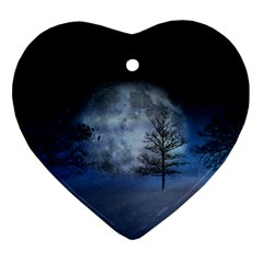 Winter Wintry Moon Christmas Snow Ornament (heart)