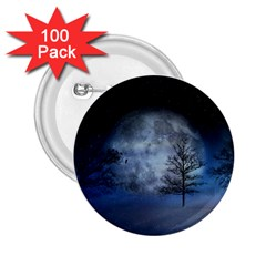 Winter Wintry Moon Christmas Snow 2 25  Buttons (100 Pack)  by Celenk