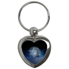 Winter Wintry Moon Christmas Snow Key Chains (heart)  by Celenk