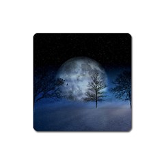 Winter Wintry Moon Christmas Snow Square Magnet by Celenk