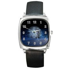 Winter Wintry Moon Christmas Snow Square Metal Watch