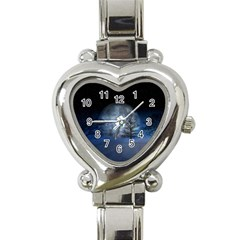 Winter Wintry Moon Christmas Snow Heart Italian Charm Watch
