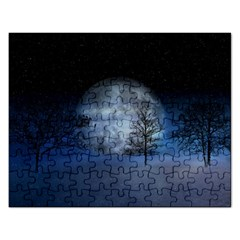 Winter Wintry Moon Christmas Snow Rectangular Jigsaw Puzzl