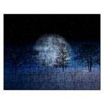 Winter Wintry Moon Christmas Snow Rectangular Jigsaw Puzzl Front