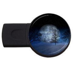 Winter Wintry Moon Christmas Snow Usb Flash Drive Round (4 Gb) by Celenk