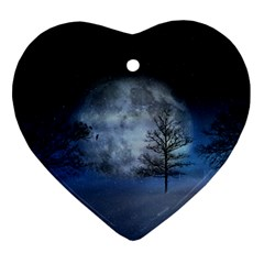 Winter Wintry Moon Christmas Snow Heart Ornament (two Sides) by Celenk