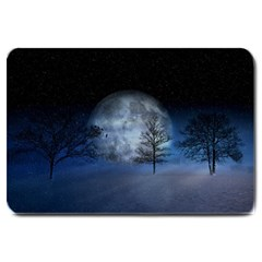 Winter Wintry Moon Christmas Snow Large Doormat  by Celenk