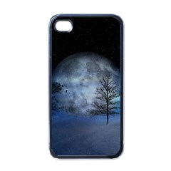 Winter Wintry Moon Christmas Snow Apple Iphone 4 Case (black) by Celenk