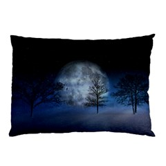 Winter Wintry Moon Christmas Snow Pillow Case (two Sides)