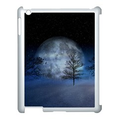 Winter Wintry Moon Christmas Snow Apple Ipad 3/4 Case (white) by Celenk