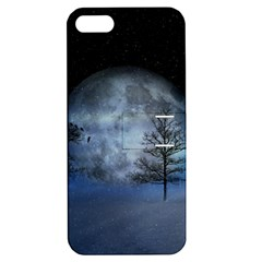 Winter Wintry Moon Christmas Snow Apple Iphone 5 Hardshell Case With Stand by Celenk