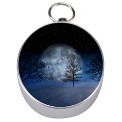Winter Wintry Moon Christmas Snow Silver Compasses by Celenk
