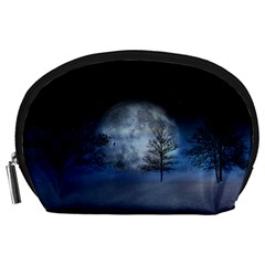 Winter Wintry Moon Christmas Snow Accessory Pouches (large)  by Celenk