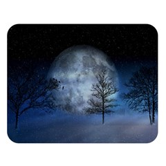 Winter Wintry Moon Christmas Snow Double Sided Flano Blanket (large)  by Celenk