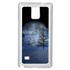 Winter Wintry Moon Christmas Snow Samsung Galaxy Note 4 Case (white) by Celenk