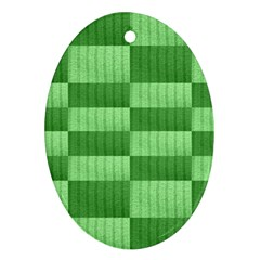 Wool Ribbed Texture Green Shades Ornament (oval) by Celenk