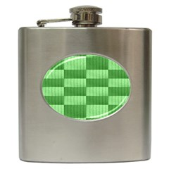 Wool Ribbed Texture Green Shades Hip Flask (6 Oz) by Celenk