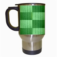 Wool Ribbed Texture Green Shades Travel Mugs (white) by Celenk