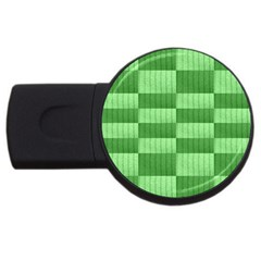 Wool Ribbed Texture Green Shades Usb Flash Drive Round (4 Gb) by Celenk