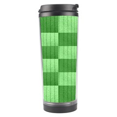 Wool Ribbed Texture Green Shades Travel Tumbler by Celenk