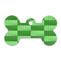 Wool Ribbed Texture Green Shades Dog Tag Bone (two Sides)