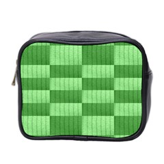 Wool Ribbed Texture Green Shades Mini Toiletries Bag 2 Side by Celenk