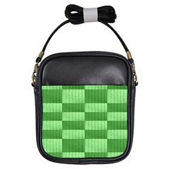 Wool Ribbed Texture Green Shades Girls Sling Bags by Celenk