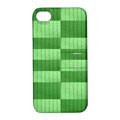 Wool Ribbed Texture Green Shades Apple Iphone 4/4s Hardshell Case With Stand by Celenk