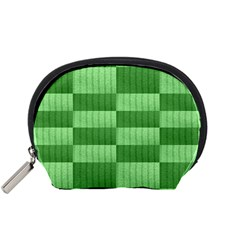 Wool Ribbed Texture Green Shades Accessory Pouches (small)  by Celenk