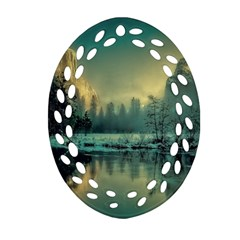 Yosemite Park Landscape Sunrise Ornament (oval Filigree) by Celenk