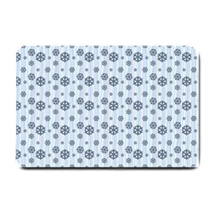 Snowflakes Winter Christmas Card Small Doormat  by Celenk