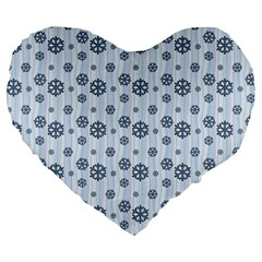 Snowflakes Winter Christmas Card Large 19  Premium Flano Heart Shape Cushions by Celenk