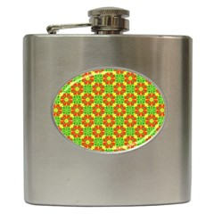 Pattern Texture Christmas Colors Hip Flask (6 Oz) by Celenk