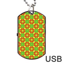 Pattern Texture Christmas Colors Dog Tag Usb Flash (two Sides) by Celenk