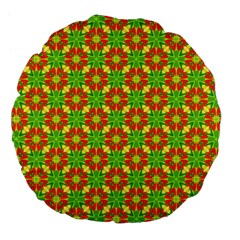 Pattern Texture Christmas Colors Large 18  Premium Flano Round Cushions by Celenk