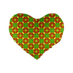 Pattern Texture Christmas Colors Standard 16  Premium Flano Heart Shape Cushions