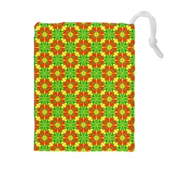 Pattern Texture Christmas Colors Drawstring Pouches (extra Large)