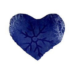 Winter Hardest Frost Cold Standard 16  Premium Heart Shape Cushions by Celenk