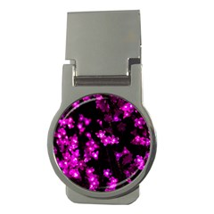 Abstract Background Purple Bright Money Clips (round)  by Celenk