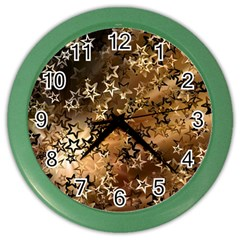 Star Sky Graphic Night Background Color Wall Clocks by Celenk