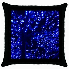 Lights Blue Tree Night Glow Throw Pillow Case (black) by Celenk