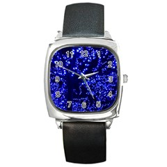 Lights Blue Tree Night Glow Square Metal Watch by Celenk