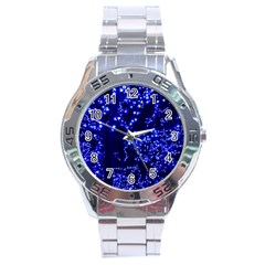 Lights Blue Tree Night Glow Stainless Steel Analogue Watch by Celenk
