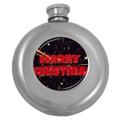 Star Sky Graphic Night Background Round Hip Flask (5 Oz) by Celenk