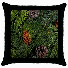 Branch Christmas Cone Evergreen Throw Pillow Case (black) by Celenk