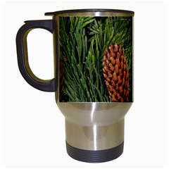 Branch Christmas Cone Evergreen Travel Mugs (white) by Celenk